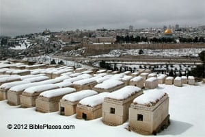 Mt. of Olives cemetery with snow. Photo courtesy of BiblePlaces.com
