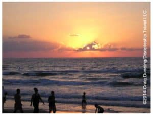 Sunset over the Mediterranean Sea at Netanya, Israel