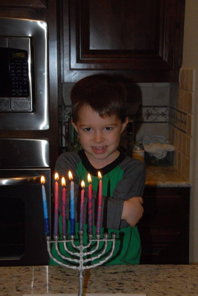 Zach at Hanukkah.
