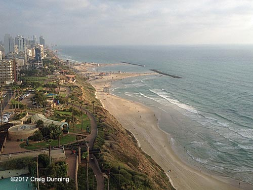 The Mediterranean Coast at Netanya viewed from the Seasons Hotel. ©2017 Craig Dunning