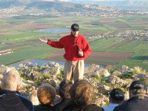 Professor Dunning teaching a previous Crossroads group on the Nazareth Ridge.