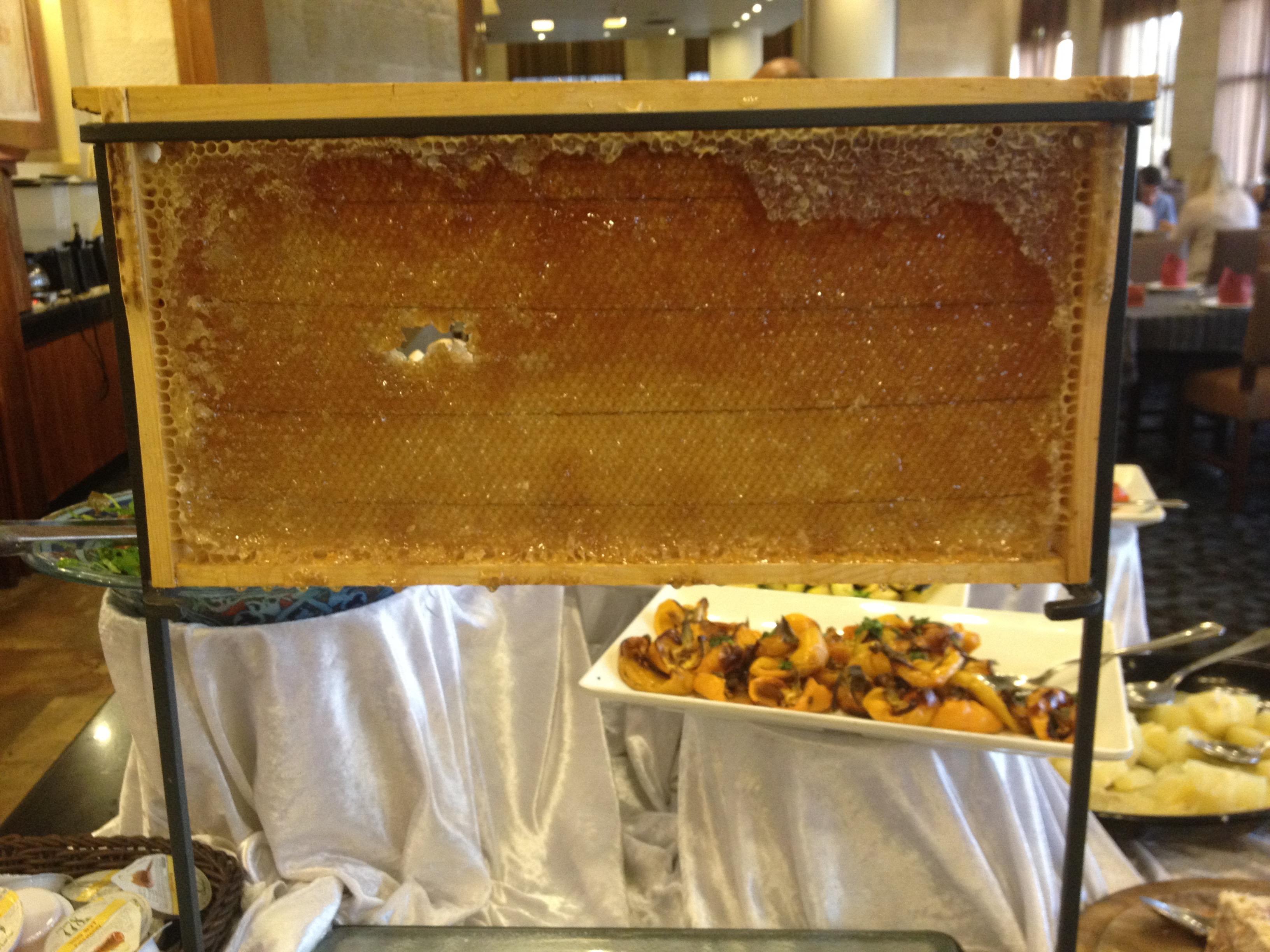 Fresh honey on the breakfast bar at the Olive Tree Hotel, Jerusalem.