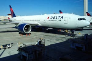 Delta preparing for an international flight.