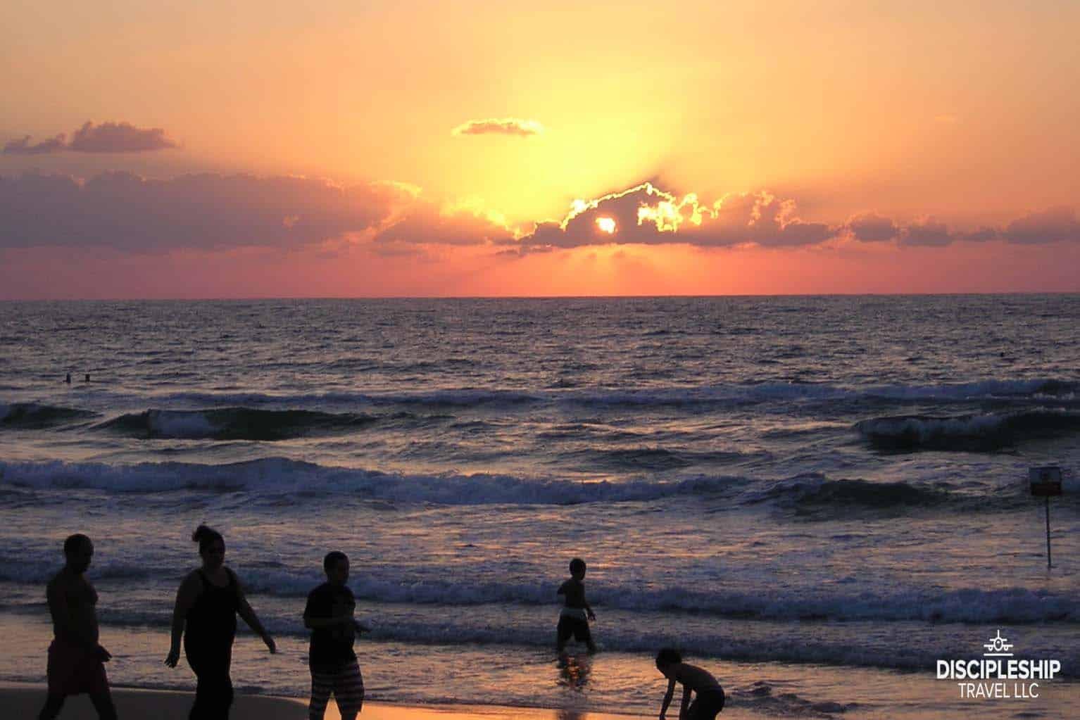 Mediterranean sunset, Netanya, Israel photo