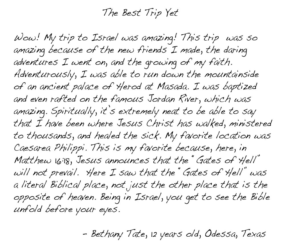 Testimony letter from Bethany Tate.