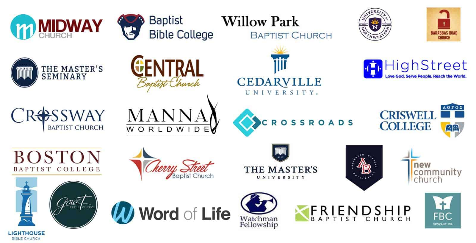 Photo collage of Discipleship Travel clients' logos.