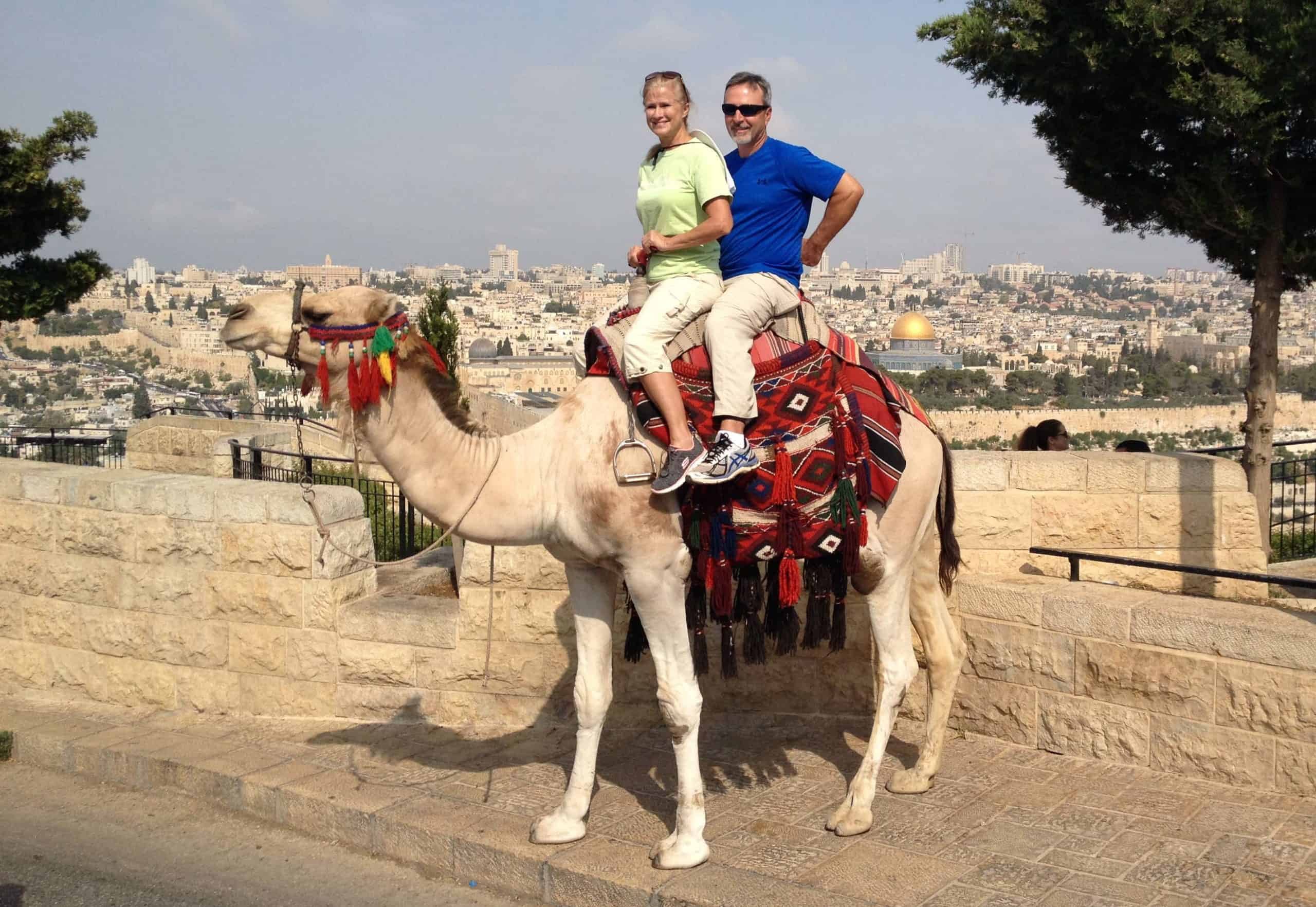 Riding a camel on the Mount of Olives
